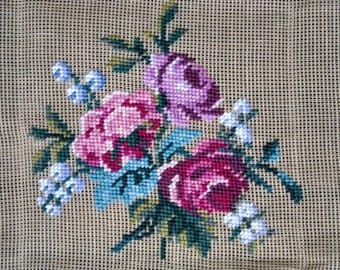 """Vintage Floral Hiawatha Heirloom  Preworked Needlepoint Canvas  - 19"""" X 20"""" -  For Seat Cover, Pillow"""