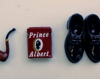 Man Stuff for your Miniature Doll House - Pipe Shoes and Prince Albert in a Can