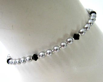 Silver Pearl Anklet,  Beaded Anklet, Foot Jewelry,  Body Jewelry, 10  1/2  inch, Celestial Pearl, Lobster Clasp,  extender, Item #1274