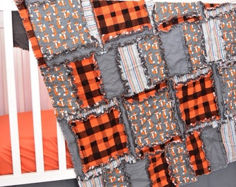 Fox Crib Bedding Woodland Nursery - Orange / Gray Baby Bedding - Plaid Crib Bedding - Rustic Nursery Decor Boy Crib Sets- Lumberjack Nursery