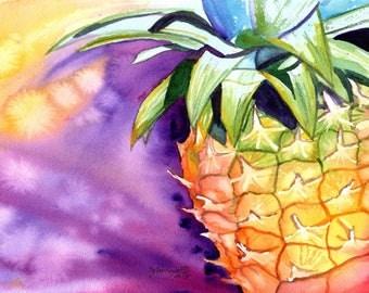 Original Watercolors, Pineapple Paintings,  Tropical Fruit Paintings, Pineapple Art, Kauai Fine Art, Hawaiian Pineapples, Wall Art, Hawaii