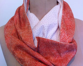 Stunning Apricot Floral Vintage Japanese Infinity Scarf - Reversible