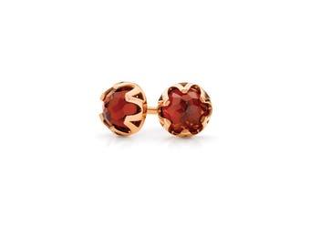 rose gold garnet stud earrings