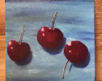 Canvas print of an original acrylic painting. Cherries #2, 8 x 8