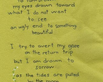 Dear little deer. Original embroidered poem by Vivienne Strauss.