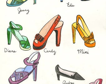 If shoes had names. Original watercolor and ink painting by Vivienne Strauss.