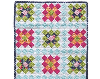 Chimney Sweep Quilt Pattern for 18 inch dolls Granny Square mini Quilt PDF pattern