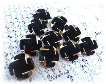 10 Black/Gold Felt Vintage Shank Buttons 3/4 Inch