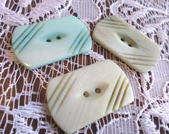 3 Blue Vintage Pearl Rectangle Buttons