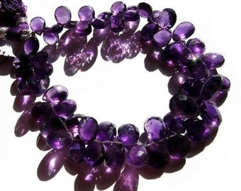 50% Off Sale 1/2 Strand - Natural African Amethyst Faceted Pear Shaped Briolettes Size 9x7 - 10x8mm approx