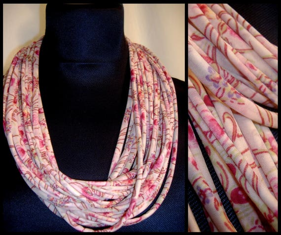Collar-bridal jewellery necklace MULTISTRAND Lycra fabric, Rose Tendre with small flowers
