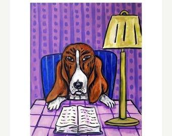 20 % off storewide Basset Hound Reading a Book Dog Art Print