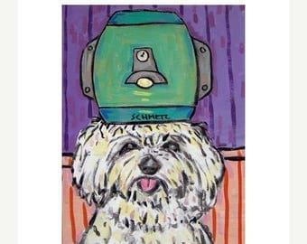 20% off storewide Maltese at the Salon Dog Art Print 8x10  JSCHMETZ modern abstract folk pop art AMERICAN ART gift