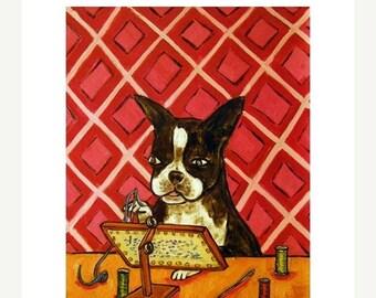 20% off Boston Terrier Doing Needlepoint Dog Art Print