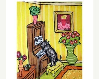 20% off Pot Belly Pig Playing Piano Dog Art Print