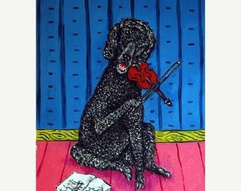 20% off Poodle Playing the Violin Dog Art Print 11x14 JSCHMETZ MODERN abstract folk pop art AMERICANA