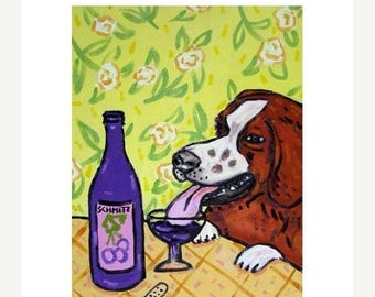 20% off Brittany at the Wine Bar Dog Art Print