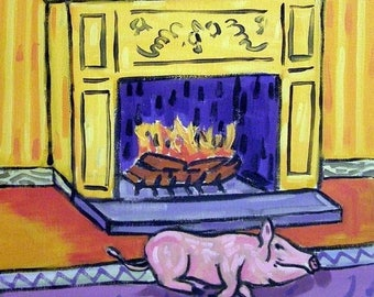 20% off Pig by the Fireplace Animal Art Tile Coaster Gift
