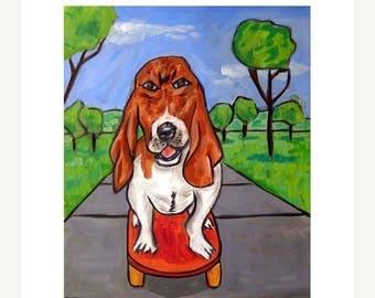 Basset Hound Reiten eine Skateboard Hund Kunstdruck