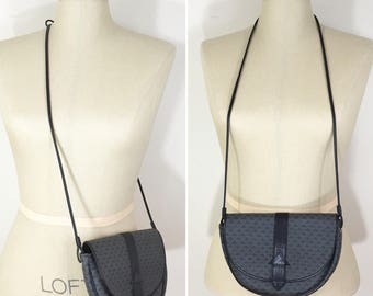 80s Liz Claiborne Dark Gray Logo Print Crossbody Bag Purse, Small Size