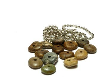 Genuine Beach STONE SOUP 14 Nougat River Rock Pebble Wheels Donuts Rondelles Jewelry Spacer Bead Natural Organic Finds Center Beachstone