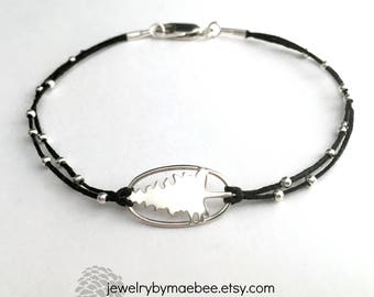 Pine Tree bracelet in sterling silver on linen forest bracelet ready to ship gift