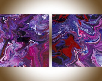 Colourful abstract painting red purple pink blue set of 2 contemporary art original art home office decor wall art Fluid art by qiqigallery