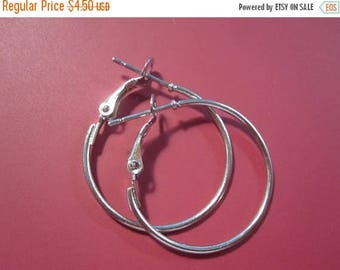 50% Off 2 Pcs (1 Pair) Silver Plated Lever Back Earring Hoops 25mm  1'' / Jewelry DIY / Ear hook / Bead Hoop ER1066 H17