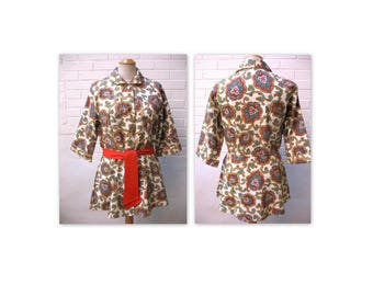 Vintage 60s Mini Cotton Lounging Jacket Robe M L East Indian Print NOS