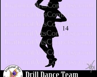 Drill Dance Team Silhouettes Pose 14 - 1 EPS & SVG Vinyl Ready files and 1 PNG digital file and commercial license