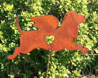 Rusty Finish Metal Garden Art Bassett Hound Dog Angel Memorial Yard Stake
