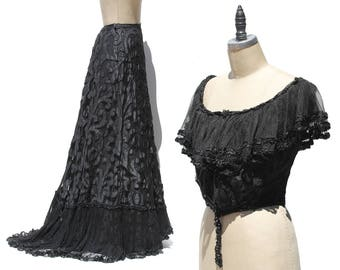 Black French Lace Corset Top & Skirt