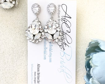 White Opal Rhinestone Wedding Earrings, Swarovski Bridal Jewelry, Bridal Earrings, statement bridal earrings, opal earrings, weddings