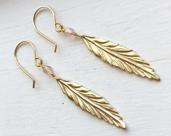 Gold Feather Drop Earrings