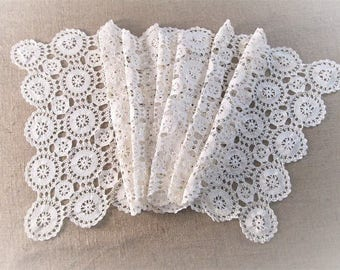 Vintage Table Runner Antique Linens Crochet Lace Ivory White Hand Crocheted Bureau Scarf 65 in. Long Farmhouse Table Cottage Vintage Linens
