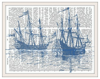 Old Ships--Vintage Dictionary Art Print---Fits 8x10 Mat or Frame