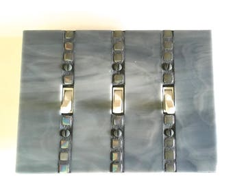 Handmade Triple Toggle Light Swich Cover,  Decorative Switch Plates, Gray Glass, Grey Switchplate, Lightswitch Plate, Stained Glass, 8705