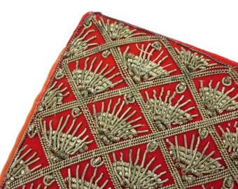Embroidered Clutch Purse - Silver Thread Zardozi Zari Embroidery India Red Velvet