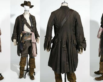 Pirate frock coat, POTC, Jack Sparrow Custom Made wool broad cloth with functional buttonsany size, any color.
