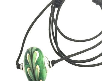 Summer Sale Green Lamp Work Single Bead Necklace