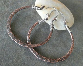 Rustic-Handmade-OOAK-Artisan- Copper- Sterling Silver- Hoop Earrings.