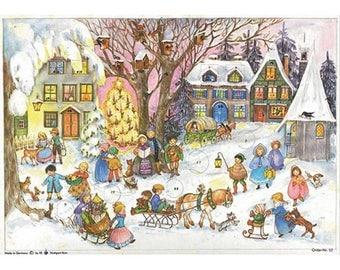 Advent Calendar Germany Christmas Carolers In Snowy Village   #52