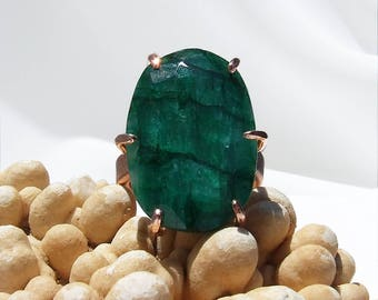 Beryl Ring, green stone ring, copper ring, Emerald green, large stone ring, prong set