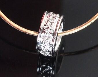 5mm 18k Solid White Gold Diamond Eternity Rondelle Finding Bead