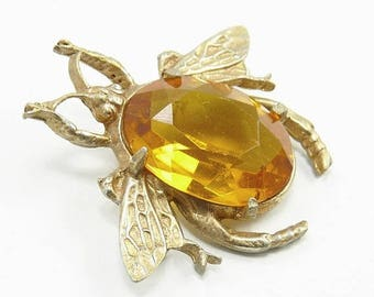 Vintage Bee Insect Brooch Topaz Crystal Body