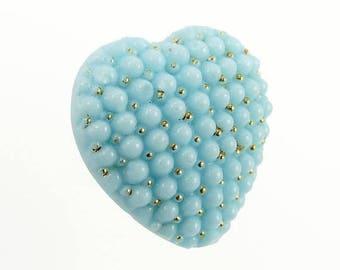 Victorian Heart Brooch Turquoise Glass Gold Enamel