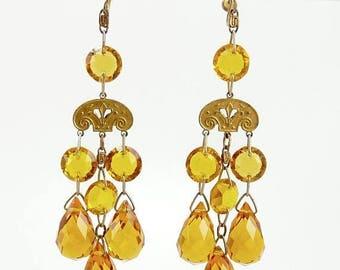Czech Art Deco Earrings Faceted Crystal Drops Statement Jewelry