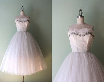 1950s Emma Domb Party Dress / Vintage 50s Strapless Shelf Bust Tulle Prom Dress / White Tulle and Lurex 1950s Party Dress XS