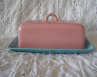 Vintage Turquoise Pink Butter Dish ~ Japan