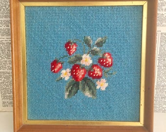 Completed framed Strawberry crewel picture hanging - aqua - turquoise - teal